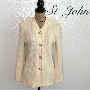 ST. JOHN CREAM COLORED KNIT BUTTON FRONT SWEATER